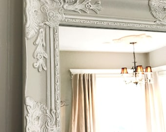 Cottage Chic Bedroom Mirror, White and Tan Mirror