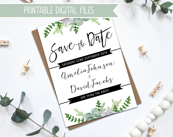 PRINTABLE Wedding Save the Date - Succulents