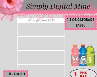 YOU Design!!! 12 oz Gatorade labelTemplates!!