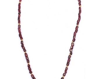 New Collection Red Garnet Gemstone Beaded Necklace Designer Women's Jewelry