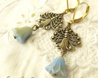 Art Nouveau Earrings, Lotus Flower Earrings, Blue Bell Earrings, Fleur De Li Earrings, Antique Gold Earrings, Brass, Neo Victorian Jewelry
