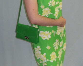 1970s Green Floral A Line Dress - Size 12