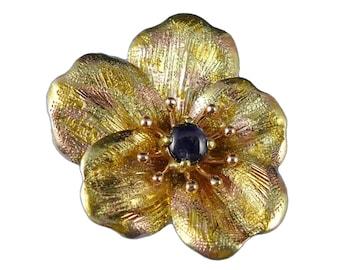Antique Gold Sapphire Brooch, Art Nouveau 14K Yellow Rose Gold Sapphire Pansy Brooch, Antique Gold Pansy Pin