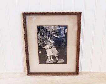 Vintage Framed Childrens Photo Kissing Under The Mistletoe Antique Christmas Photo Antique Child Photo, Baby Photo, Antique Photo