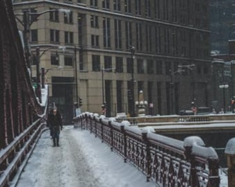 A snow storm in Chicago, IL. Photography Print. Portrait. Wall Art. Home Decor. Urban. Nightscape.