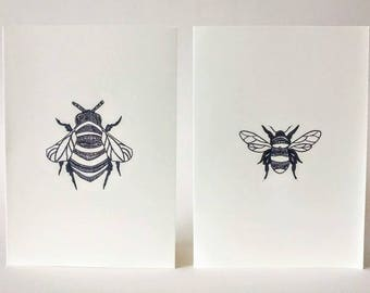 Bumble Bee Card Set/Animals/Prints/Hand Made/Pen/Ink Drawings/Intricate/Bee/Honey/Flowers/Spring/Birthday/Cards/Occasion