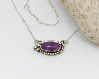 Amethyst Necklace, Purple Necklace in Sterling Silver Adjustable Chain, Silversmith Purple Bar Necklace, Art Jewelry Necklace