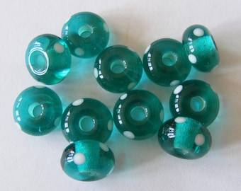 11 Handmade Lampwork Glass Beads -Teal Green