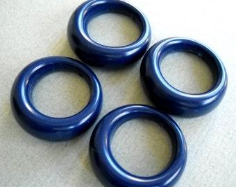 Blue Vintage Hoops, Vintage Hoop Pendant Earrings, Large Blue Hoop Beads, Unique Earring Hoop pendant Beads, Blue Acrylic Beads., 4