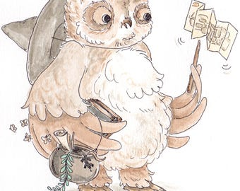 Hootie Cutie Owl Witch / Wizard Cute Illustration
