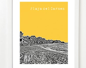 Playa del Carmen Art Poster  - City Skyline Print - Playa Del Carmen Wedding