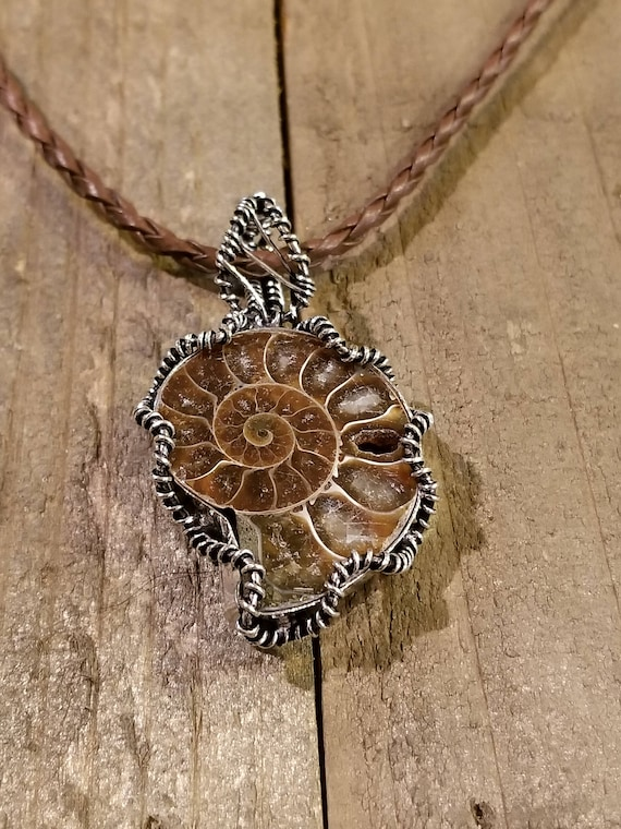 Wire Wrapped Fossil Ammonite Braided Leather Necklace Unique Gem Stone Earth Collection Boho Hippie Style Jewelry (N78)