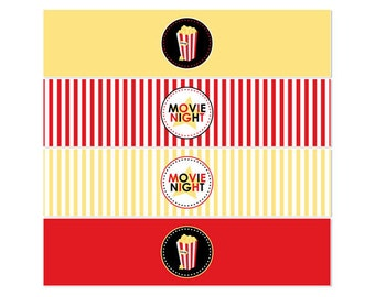 50% Off Sale! - PRINTABLE Movie Night Party Bottle Wraps - INSTANT DOWNLOAD