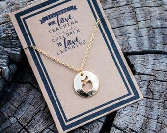 Apple Necklace - Teacher Necklace - Teach Appreciation Gift - Gold Apple - Silver Apple