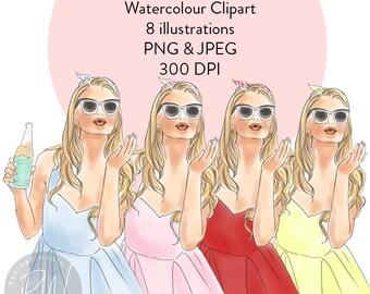 Soda  Pop Girls watercolour clipart,  fashion illustration, fashion print, watercolour, fashion clipart, girl logosprintable art