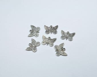 BR51 - Set of 6 silver metal butterflies