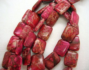 10 Pcs Rose Red Variscite Sea Sediment Jasper Puffed Rectangle Beads 15x20mm