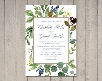 Navy & Leaves Watercolor Wedding Invitation, RSVP, Details Card (Printable) by Vintage Sweet