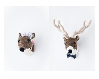 Handmade Faux Taxidermy -Couple Deer Heads Wall Art - Paper Mache and Recycled Materials - Wedding or Newlywed Home Decor