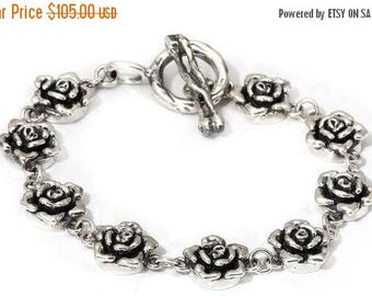 ON SALE Charm Bracelet Roses Sterling Silver