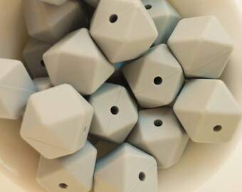50-100 Silicone Ball hexagonal 17mm color light grey-BULK silicone beads-50-100 hexagonal silicon beads 17mm-50-100 Silikon Perlen