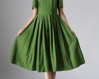 Linen dress, womens dresses, midi dress, Green dress, linen dresses for women, midi dresses, short sleeve dress, vintage dress 973
