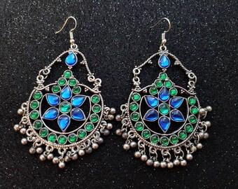 Blue and green earrings, boho earrings, Kuchi earrings, Rajasthani earrings, tribal earrings, ethnic earrings, India earrings, gifts for her
