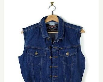 ON SALE Vintage Blue Denim Sleeveless Blouse/Vest  from 90's