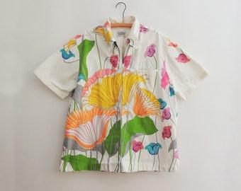 1960's Psychedelic Flower Cotton Hawaiian Shirt // Vintage Malihini Shirt // Rare Hawaiian Shirt // Bold Print Hawaiian Shirt // Size XL
