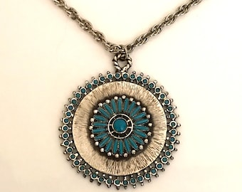 Florenta turquoise pendant necklace 1970 vintage fashion California