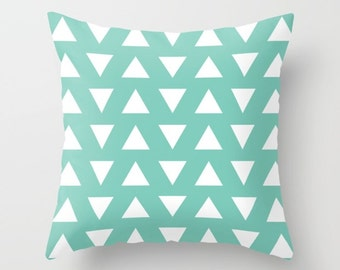 Triangles Pillow  - Geometric Pillow  - Mint and White Triangles Pillow  - Decorative Pillow - By Aldari Home