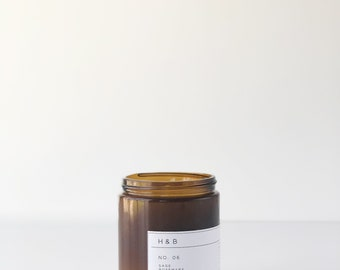 Soy Candle / No. 06 / Sage. Rosemary. Thyme.  /  8 oz Soy Wax Candle / Hand Poured / Scented Soy Wax / Amber Jar /