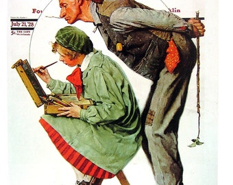 Artist and Critic - Norman Rockwell - Saturday Evening Post Cover - 1989 Vintage Book Page - 10 x 12