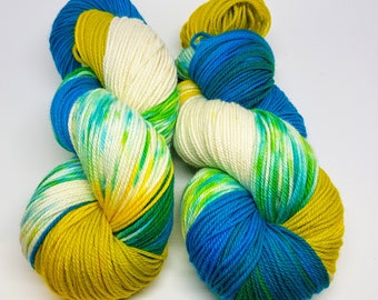 Seaglass hand painted eco processed merino sport weight yarn