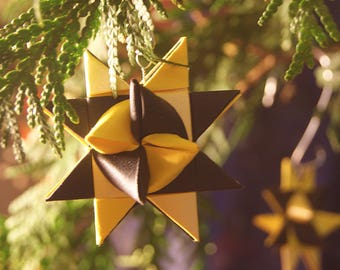 Yellow & Black Moravian Star Ornaments (set of 5)