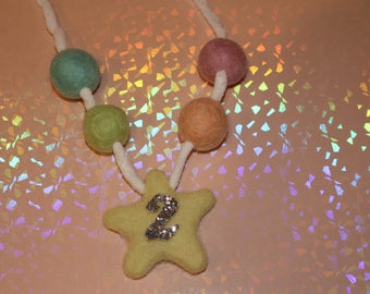 Birthday Star Felted wool  Ball Necklace Soft Colors