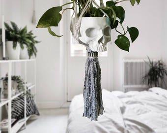 Macrame plant hanger, hanging planter, skull, skull decor, succulent planter, bohemian decor, boho decor, bohemian, dri lovestone decor