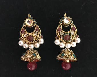 Indian Jhumkas. Red indian earrings. Indian pearl earrings. Bollywood zhumkas.