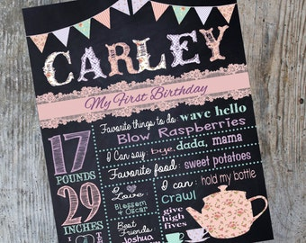Tea party first birthday Chalkboard,Vintage, shabby chic, Birthday sign,  chalk, board, sign, First Printable Size 16x20 photo prop