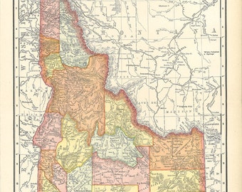 map of Idaho, a vintage printable digital download map no. 178