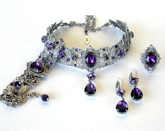 Purple Jewelry Set Swarovski Jewelry Set Gothic Choker Bracelet Earrings Ring Purple Crystal Jewelry Set Victorian Purple Wedding Jewelry