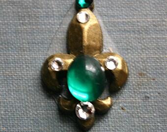 Emerald Green Fleur De Lis  Bindi - ATS, Tribal Fusion, Belly Dance, Facial Jewelry, Third Eye, Cosplay, Steampunk