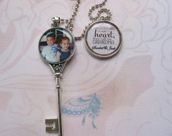 Personalized photo keepsake necklace with a key pendant and double sided pendant