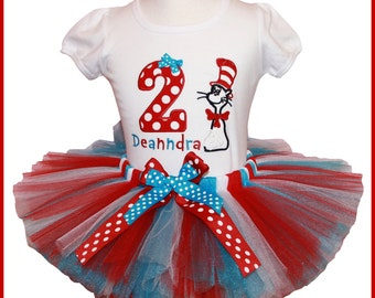 New Cat in the Hat Dr Seuss Birthday Tutu outfit Personalized with name