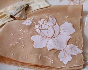 Floral Hankie Embroidered Applique Tan White Handkerchief