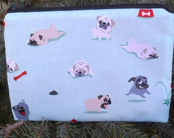 Pugs zippered bag, make up bag, accessory bag, Pugs and Kisses, The Scooter