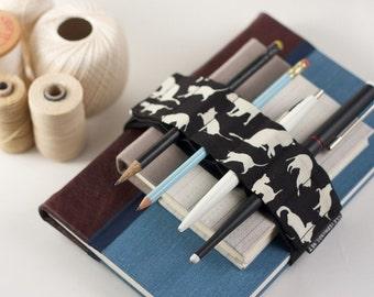 Adjustable Bandolier // cats // (a better pencil case, journal pen holder, book strap, pen loop, pencil roll, pen bandolier)