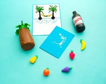 Hammock Guy Pop Up Card, Beach Birthday Card, Beach Bday Card, Summer Beach Card, Birthday Card, Summer Bday Card, Beach Pop Up Card