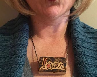 Lover wood block necklace