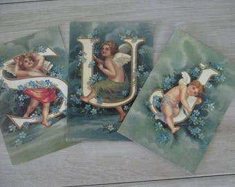 3 Vintage Cherub Photos Made in Holland  Free Shipping